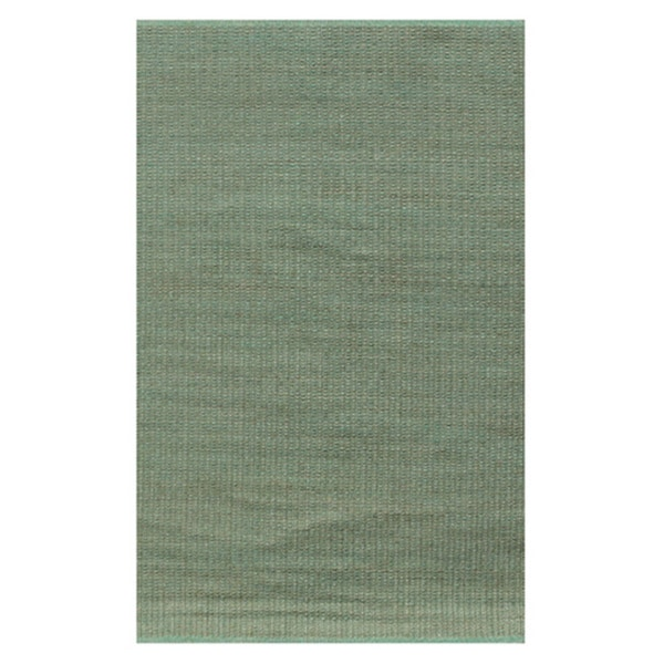 Hand-woven Green Gold Jute Dhurry Rug (6'x9')
