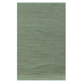 Hand-woven Green Gold Jute Dhurry Rug (6'x9')
