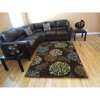 Hand-tufted Persian Brown Floral Wool Rug (8' x 10')