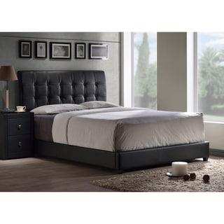 Porch & Den Bay Tufted Black Faux Leather Bed Set
