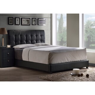 lusso tufted black faux leather bed set