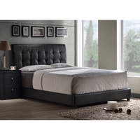 Porch & Den Bay Tufted Black Faux Leather Bed Set