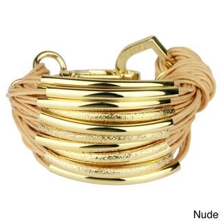 Saachi Multi-cord with Gold-tone Brushed Tube Beads Bracelet (China)