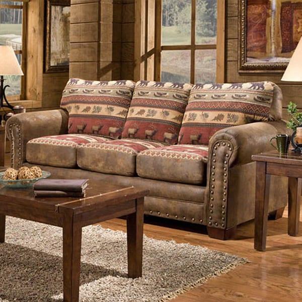 Sierra Lodge Microfiber Sofa Free Shipping Today
