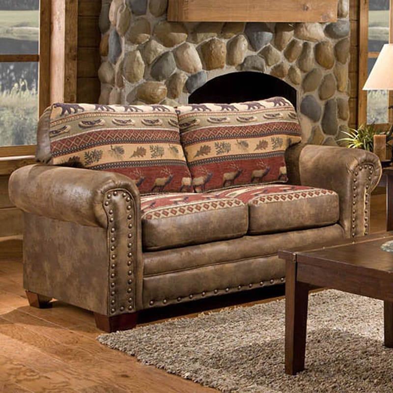 American Sierra Mountain Lodge Printed Tapestry Loveseat ...