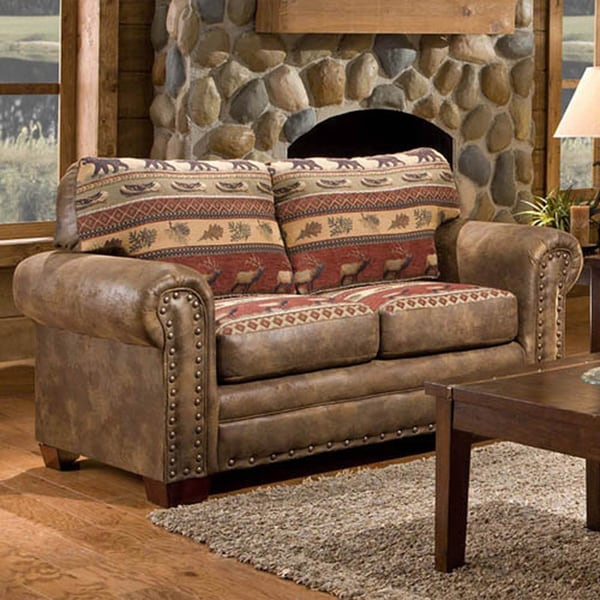 Sierra mountain lodge printed tapestry loveseat free shipping today overstock 16404401 for Lodge style living room furniture