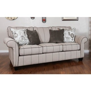 Somette Peyton High Leg Rolled Arm Striped Beige Sofa
