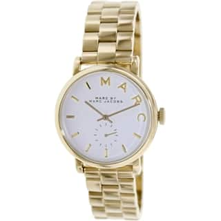 Marc By Marc Jacobs Women's Baker MBM3243 Goldtone Stainless Steel Swiss Quartz Watch with Silvertone Dial|https://ak1.ostkcdn.com/images/products/9237988/P16404462.jpg?impolicy=medium