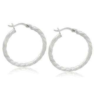 Gioelli Sterling Silver Twisted Hoop Earrings