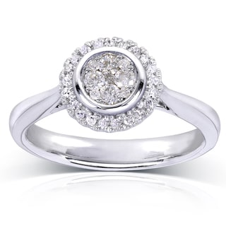 Annello by Kobelli 10k White Gold 1/4ct TDW Cluster and Halo Diamond Engagement Ring (H-I