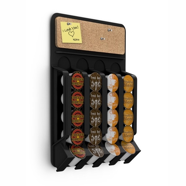 Mind Reader Black Fridge/ Wallmount Coffee Pod Dispenser with Cork Top