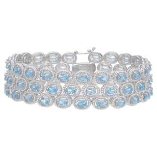Rhodium-plated 17ct TGW Swiss Blue Topaz Bracelet