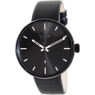 Vestal Men's Roosevelt ROS3L002 Black Leather Analog Quartz Watch with Black Dial