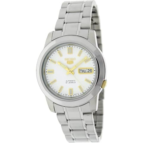 Seiko Men's 5 Automatic Silvertone Stainless Steel Automatic Watch with White Dial