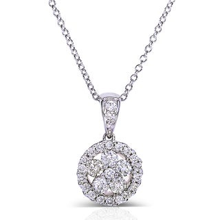 Annello 10k White Gold 1/2ct TDW Floral Round Diamond Cluster Pendant Necklace (G-H, I1-I2)