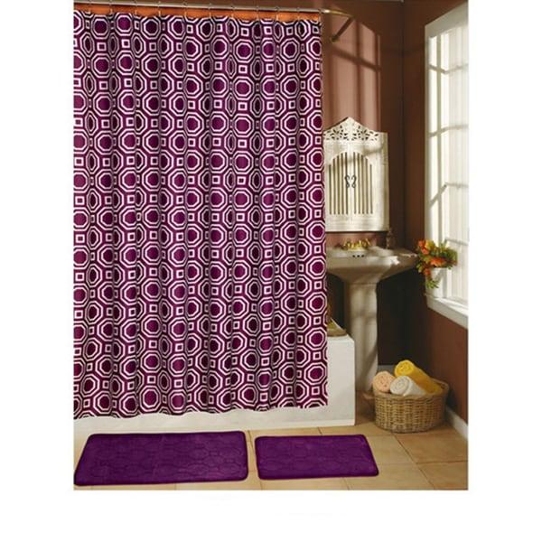Octagon Plum 15-piece Shower Curtain/ Hook/ Bath Rug Set - Free ...