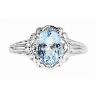 Anika and August 14k White Gold Oval-cut Brazilian Aquamarine and Diamond Accent Ring