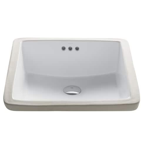 Kraus KCU-231 Elavo 17 Inch Square Undermount Porcelain Ceramic Vitreous Bathroom Sink in White, Overflow