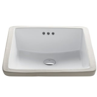 Kraus KCU-231 Elavo 17 Inch Square Undermount Porcelain Ceramic Vitreous Bathroom Sink in White, Overflow
