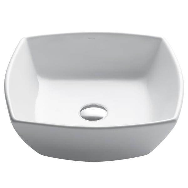 Shop Kraus Kcv 126 Elavo 16 1 2 Inch Square Vessel Porcelain Ceramic Vitreous Bathroom Sink In