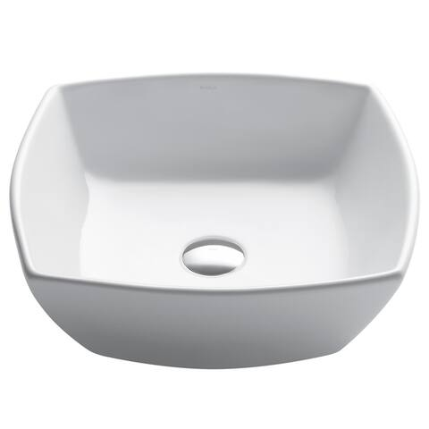 Kraus KCV-126 Elavo 16-1/2 Inch Square Vessel Porcelain Ceramic Vitreous Bathroom Sink in White, Pop Up Drain optional