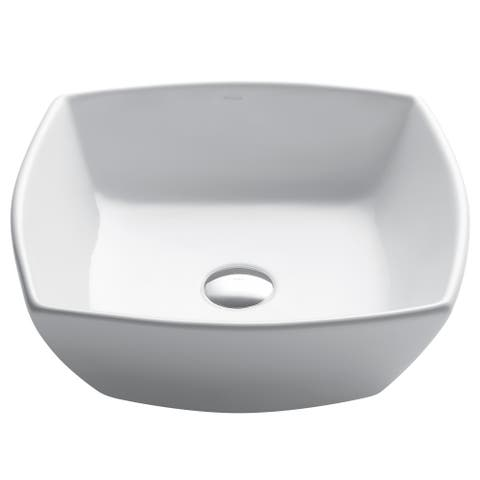 Kraus KCV-126 Elavo 16-1/2 Inch Square Vessel Porcelain Ceramic Vitreous Bathroom Sink in White, Pop Up Drain optional