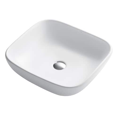 Kraus KCV-127 Elavo 18 Inch Square Vessel Porcelain Ceramic Vitreous Bathroom Sink in White, Pop Up Drain optional