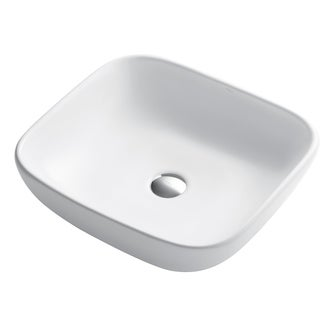 KRAUS Elavo Soft Square Ceramic Vessel Bathroom Sink