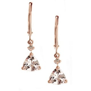 Anika and August 14k Rose Gold Morganite with Diamond Accents Fashion Earrings