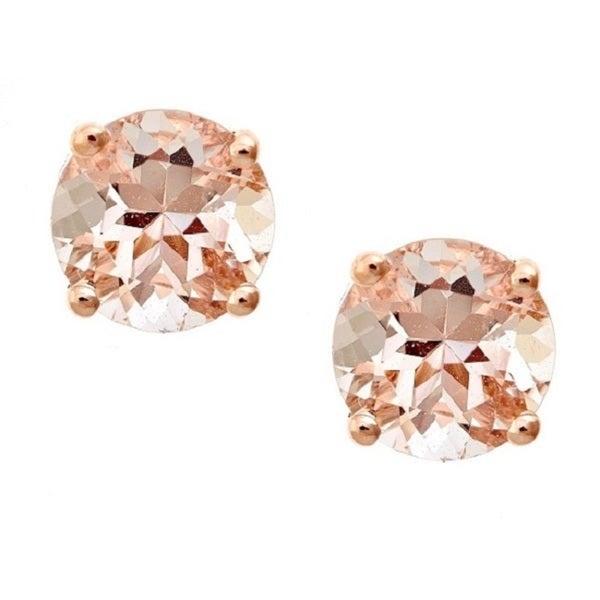 Anika and August 14k Rose Gold Morganite Stud Earrings