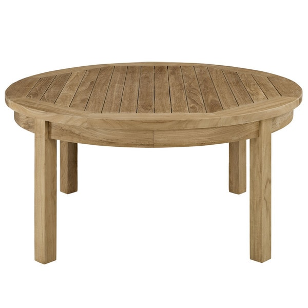 Pier outdoor patio teak round coffee table free shipping for Round teak table top