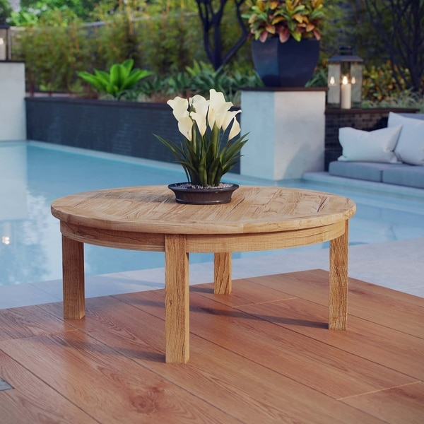 Low Round Teak Coffee Table: Pier Outdoor Patio Teak Round Coffee Table