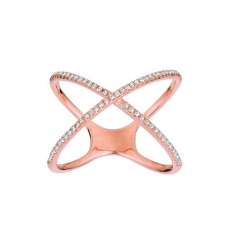 14k Rose Gold 1/5ct TDW Diamond X Ring