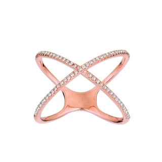 14k Rose Gold 1/5ct TDW Diamond X Ring (G-H, I1)