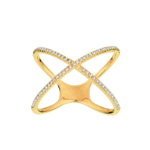 14k Yellow Gold 1 5ct White Diamond X Ring Free Shipping Today