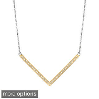 Sterling Silver 1/5ct Diamond Chevron V Necklace (G-H, I1)