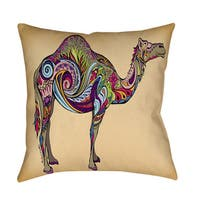 Camel Indoor/ Outdoor Decorative Throw Pillow