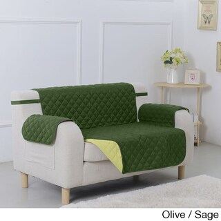 Suede Microfiber Reversible Quilted Loveseat Furniture Protector