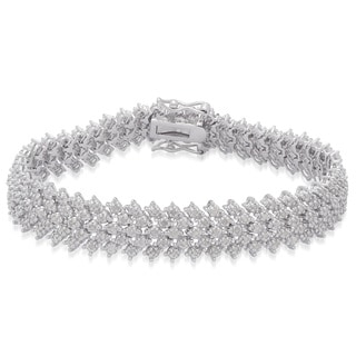 Finesque Sterling Silver 1 7/8ct TDW White Diamond Bracelet (I-J, I2-I3)