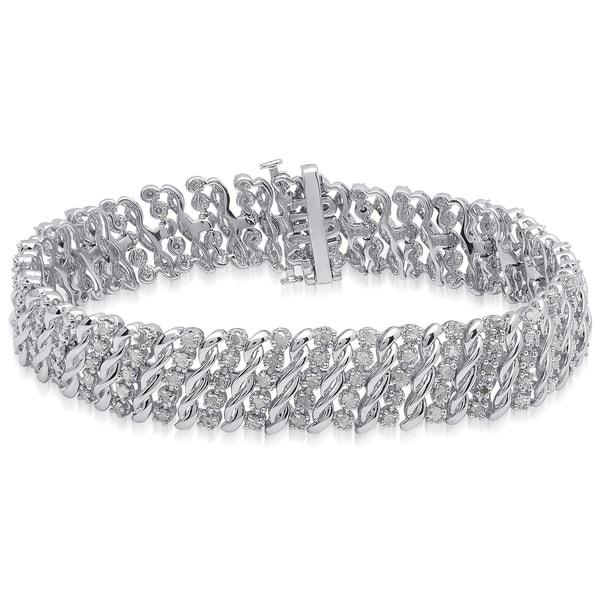 Finesque Sterling Silver 2ct TDW White Diamond Link Bracelet (I-J, I2-I3)