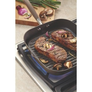 Anolon Advanced Bronze Hard-anodized Nonstick 11-inch Deep Square Grill Pan with Pour Spouts