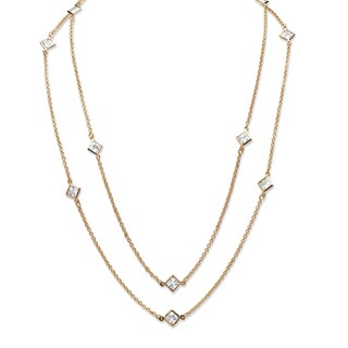 """Gold Tone Endless Necklace (6mm), Princess Cut Simulated Birthstones, 48"""""""