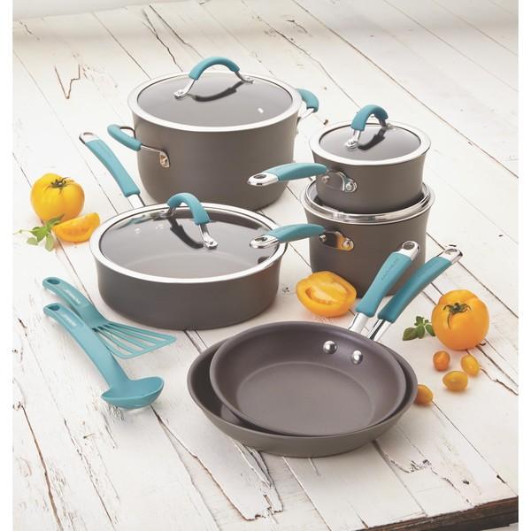 Rachael Ray Cucina Nonstick Blue 12-piece Aluminum Cookware Set