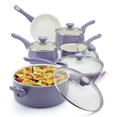 Farberware New Traditions Speckled Aluminum Nonstick 14-piece Lavender Cookware Set