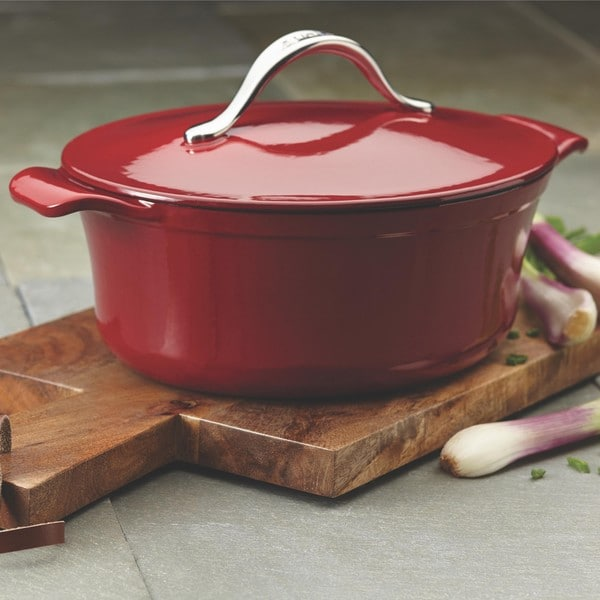 Anolon Vesta Cast Iron Cookware 4-quart Paprika Red Oval Covered Casserole
