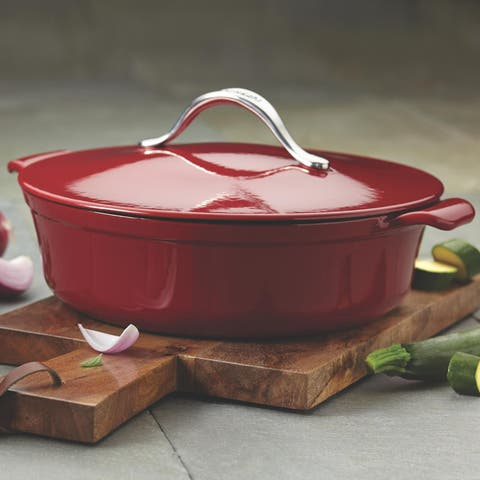 Anolon Vesta Paprika Red Cast Iron Round 5-quart Covered Braiser Cookware