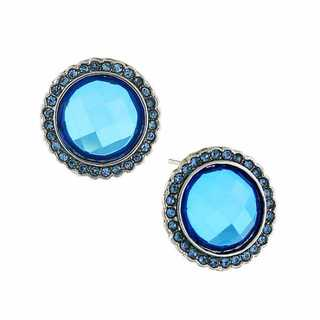 Dazziling Blue Button Earrings