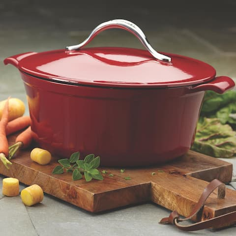 Anolon Vesta Cast Iron Cookware 5-quart Paprika Red Round Covered Casserole