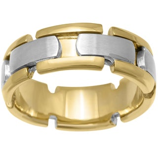 Handmade 14k Two-tone Gold Men's Comfort-fit Wedding Band