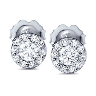 14k White Gold 1/ 2ct Halo Diamond Studs